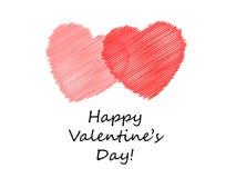 De gekrabbelde Harten van de Valentijnskaart Stock Illustratie