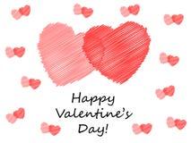 De gekrabbelde Harten van de Valentijnskaart Royalty-vrije Illustratie