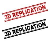 De gekraste Geweven en Schone 3D Drukken van de REPLICATIEzegel Vector Illustratie