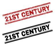 De gekraste Geweven en Schone Drukken van de de 21ST EEUWzegel royalty-vrije illustratie