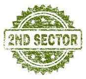 De gekraste Geweven 2ND Verbinding van de SECTORzegel vector illustratie
