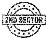 De gekraste Geweven 2ND Verbinding van de SECTORzegel stock illustratie