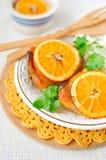 De gekruide Oranje Kip van het Braadstuk Royalty-vrije Stock Foto's
