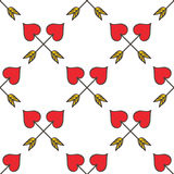 De gekruiste hart gestalte gegeven achtergrond van het de pijlen naadloze patroon van de cupido Royalty-vrije Stock Foto