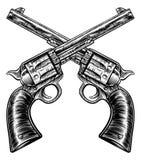 De gekruiste Stijl van de de Revolvers Uitstekende Houtdruk van het Pistoolkanon Royalty-vrije Stock Foto