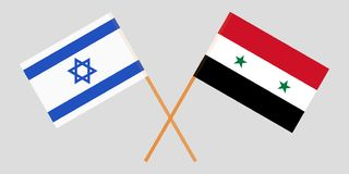 De gekruiste Syrische Arabische vlaggen van de Republiek en van Israël Officiële kleuren Correct aandeel Vector vector illustratie