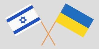 De gekruiste vlaggen van de Oekraïne en van Italië Officiële kleuren Correct aandeel Vector royalty-vrije illustratie