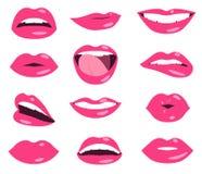 De gelaatsuitdrukking vectorreeks van vrouwenlippen Royalty-vrije Stock Foto