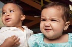 De gelaatsuitdrukkingen van babys Stock Fotografie
