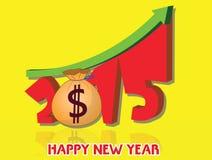 De geldgroei van 2015 Gelukkig nieuw jaar 2015 Stock Foto's