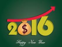 De geldgroei van 2016 Gelukkig Nieuwjaar Royalty-vrije Stock Foto