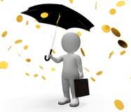 De geldmeevaller betekent verdienend sparen en Karakter het 3d Teruggeven Stock Foto's