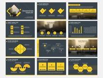 De gele Abstracte presentatiemalplaatjes, Infographic-het vlakke ontwerp van het elementenmalplaatje plaatsen voor de vliegerpamf Royalty-vrije Stock Foto's