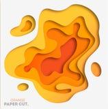 De gele achtergrond met document sneed vormen Vector illustratie 3D abstract het snijden art. stock illustratie