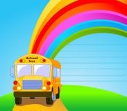 De gele achtergrond van de Bus van de School Stock Afbeelding