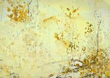 De gele Achtergrond van de Kunst van Grunge van de Bloem stock illustratie