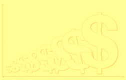 De gele achtergrond van het dollarsymbool met grafiekpatroon Stock Afbeeldingen