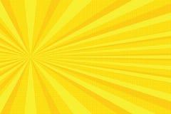 De gele achtergrond van het stralenpop-art royalty-vrije illustratie