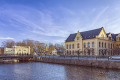 De gele architectuur van Uppsala Stock Afbeelding