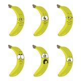 De gele banaan van het emotiebeeldverhaal Stock Foto
