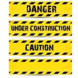 De gele banden van de veiligheidswaarschuwing geplaatst Voorzichtigheid stock illustratie