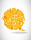 De gele bellen van de toespraakdialoog Stock Foto