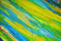 De gele blauwe creatieve achtergrond van de verfwaterverf Royalty-vrije Stock Afbeeldingen