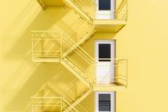 De gele bouw met brandtrapladder vector illustratie