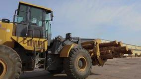 De gele bulldozer vervoerden logboeken, bulldoz met logboeken stock video