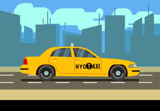 De gele cabine van de autotaxi in cityscape vectorillustratie Stock Afbeelding