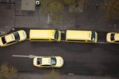 De gele Cabines van de Taxi Royalty-vrije Stock Foto's