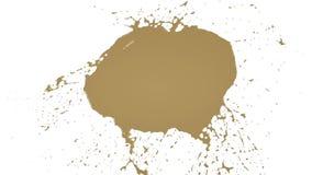 De gele dalingen valt en ploetert in langzame motie Gekleurd water stock videobeelden