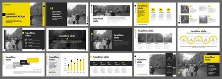 De gele elementen van presentatiemalplaatjes op een witte achtergrond stock afbeelding