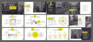 De gele elementen van presentatiemalplaatjes op een witte achtergrond Abstracte kaart en lijnen als achtergrond royalty-vrije stock foto's