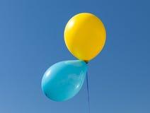 De gele en Blauwe Oekraïense ballons van vlagkleuren Royalty-vrije Stock Fotografie