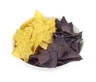 De gele en Blauwe Spaanders van de Tortilla van het Graan Royalty-vrije Stock Fotografie