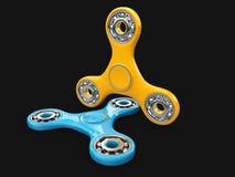 De gele en Blauwe spinner friemelt 3d illustratie De spinnerapparaat van de ontspanningshand Royalty-vrije Stock Afbeeldingen