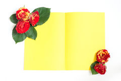 De gele en rode rozen schikten in de hoeken van het blad van pap Stock Foto's