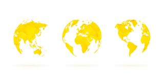 De gele geometrische aarde van de bollen vector vastgestelde wereld vector illustratie