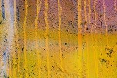 De gele geschilderde muur van Grunge Stock Foto's
