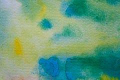 De gele, groene en blauwe slagen van de waterverfborstel Achtergrond voor ontwerp Kleurrijke hand geschilderde waterverfachtergro Royalty-vrije Stock Foto's