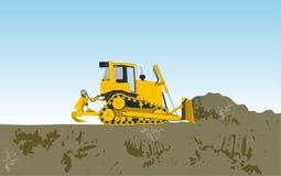 De gele grote graver bouwt wegen het gigging van gat Stock Foto