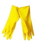 De gele handschoenen van de schotelwas Stock Fotografie