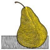 De gele houtdruk van de peer stock illustratie