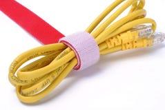 De gele Internet-afwijking van de gegevenskabel Stock Foto