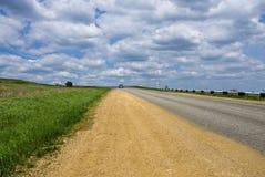 De gele kant van de weg Stock Foto's