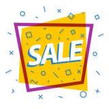De gele kleur van de verkoopbanner met purper kader en verschillende vormen Royalty-vrije Stock Afbeelding
