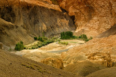 De gele kleurrijke rotsen en de stenen, landen, ladakh landschap Leh, Jammu Kashmir, India op de maan Royalty-vrije Stock Foto's
