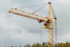 De gele kraan van de de bouwtoren Royalty-vrije Stock Afbeelding