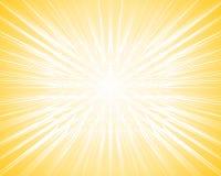 De gele lichte straal barstte achtergrond Stock Afbeeldingen